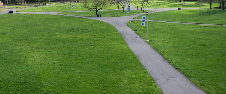 sidewalks criss cross with green grass
